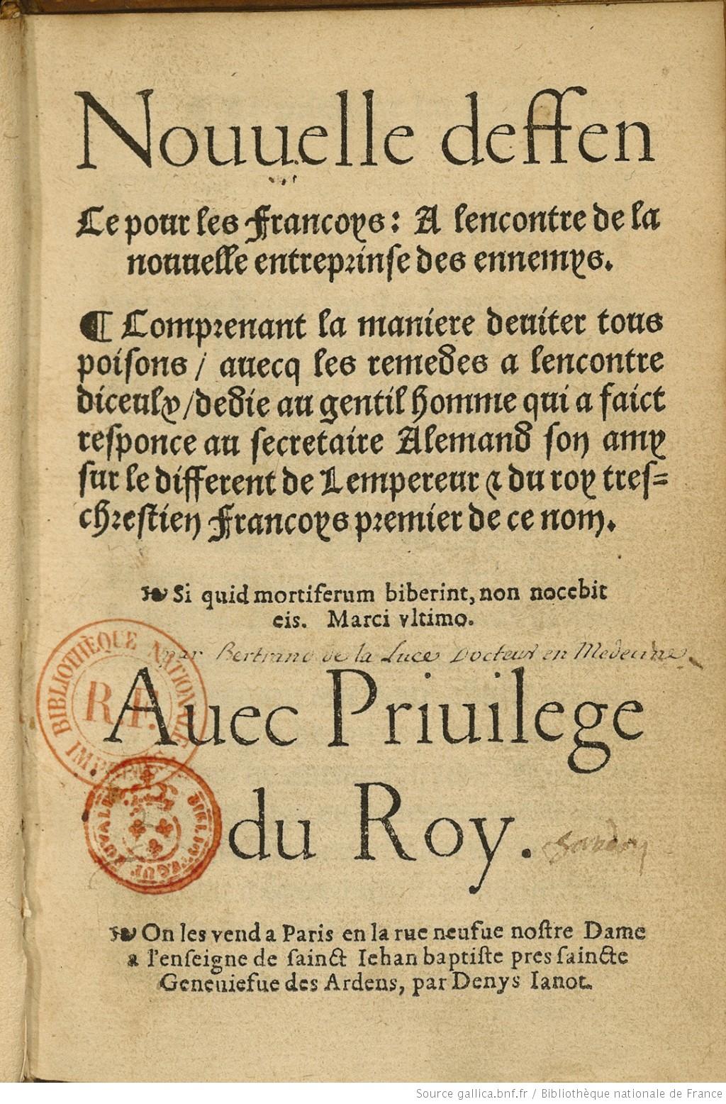 Nouvelle deffence pour les francoys [...], 1537. BnF, Réserve des livres rares.