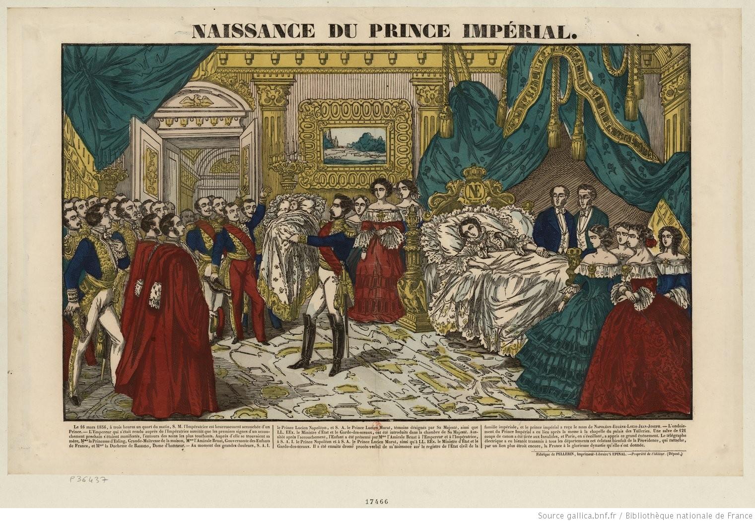 Naissance du Prince Impérial : estampe. Fabrique de Pellerin, Imprimeur-Libraire à Épinal? BnF, Département des Estampes et photographie.