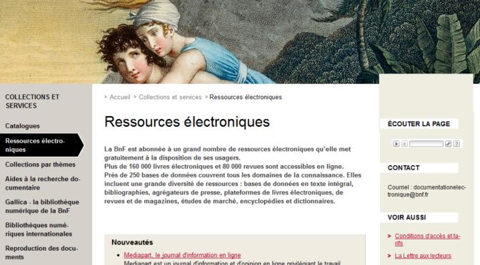 Les ressources électroniques en Histoire à la Bibliothèque nationale de France